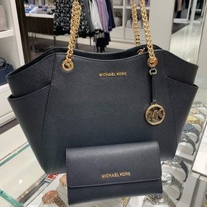 Michael kors Leather shouler bag & Trifold wallet